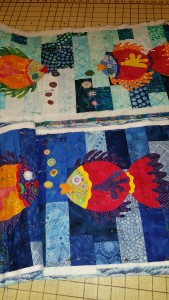Pin basting and quilting.