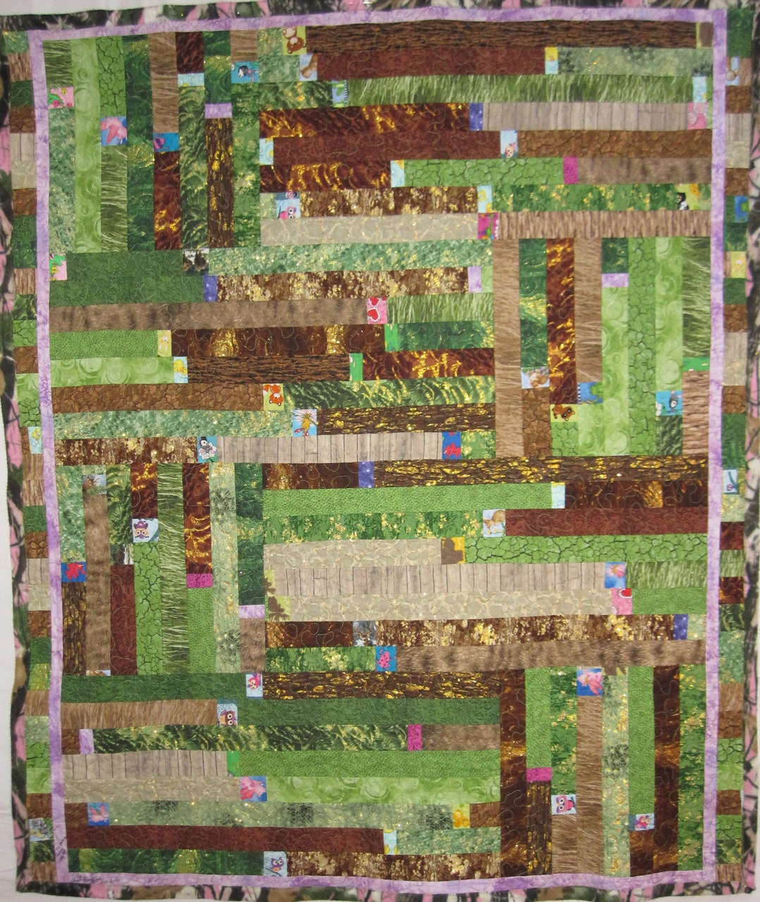 Log cabin style hunting Quilt made for Kadyn