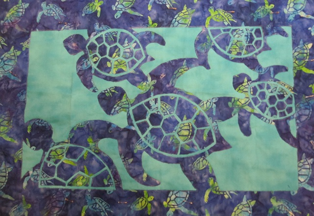 Herd of turtles fabric applique quilt pam s sewing arts